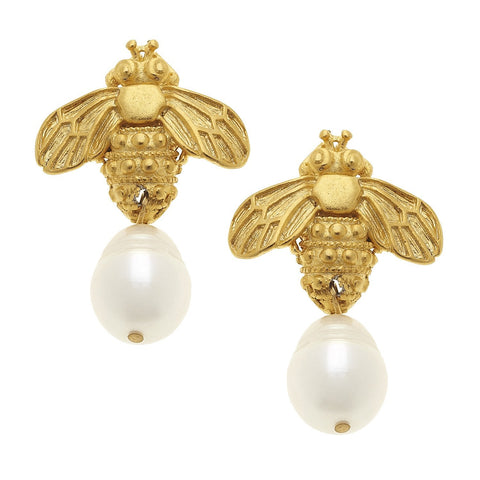 Susan Shaw Handcast Gold Bee & Genuine Freshwater Pearl Earrings