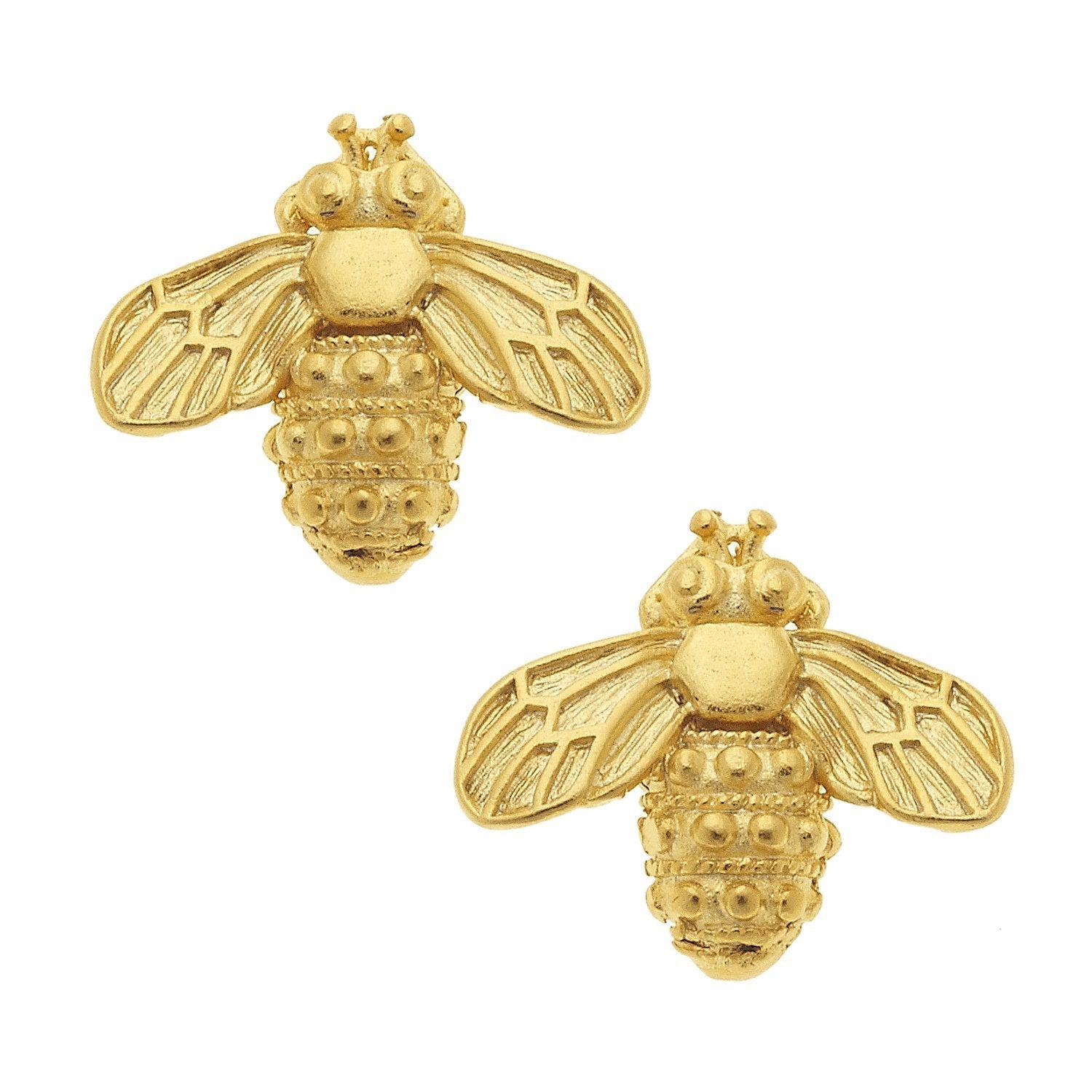 Susan Shaw Handcast Gold Bee Stud Earrings
