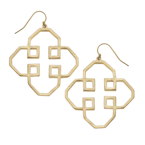 Susan Shaw Handcast Gold Filigree Cut Out Earrings