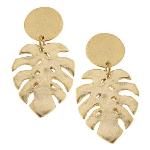 Susan Shaw Tropical Palm Leaf Earrings