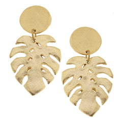 Susan Shaw Handcast Gold Round Post Top and Leaf Earrings