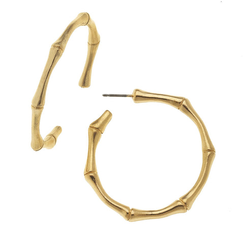 Susan Shaw Handcast Gold Bamboo Hoop Earrings