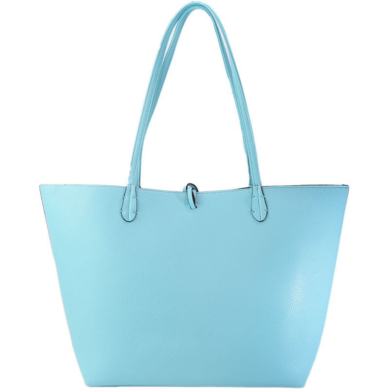 Vegan Leather Reversible 2-in-1 Tote Bag - Sky Blue/Baby Pink