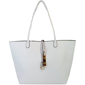 Vegan Leather Reversible 2-in-1 Tote Bag - White/Mint