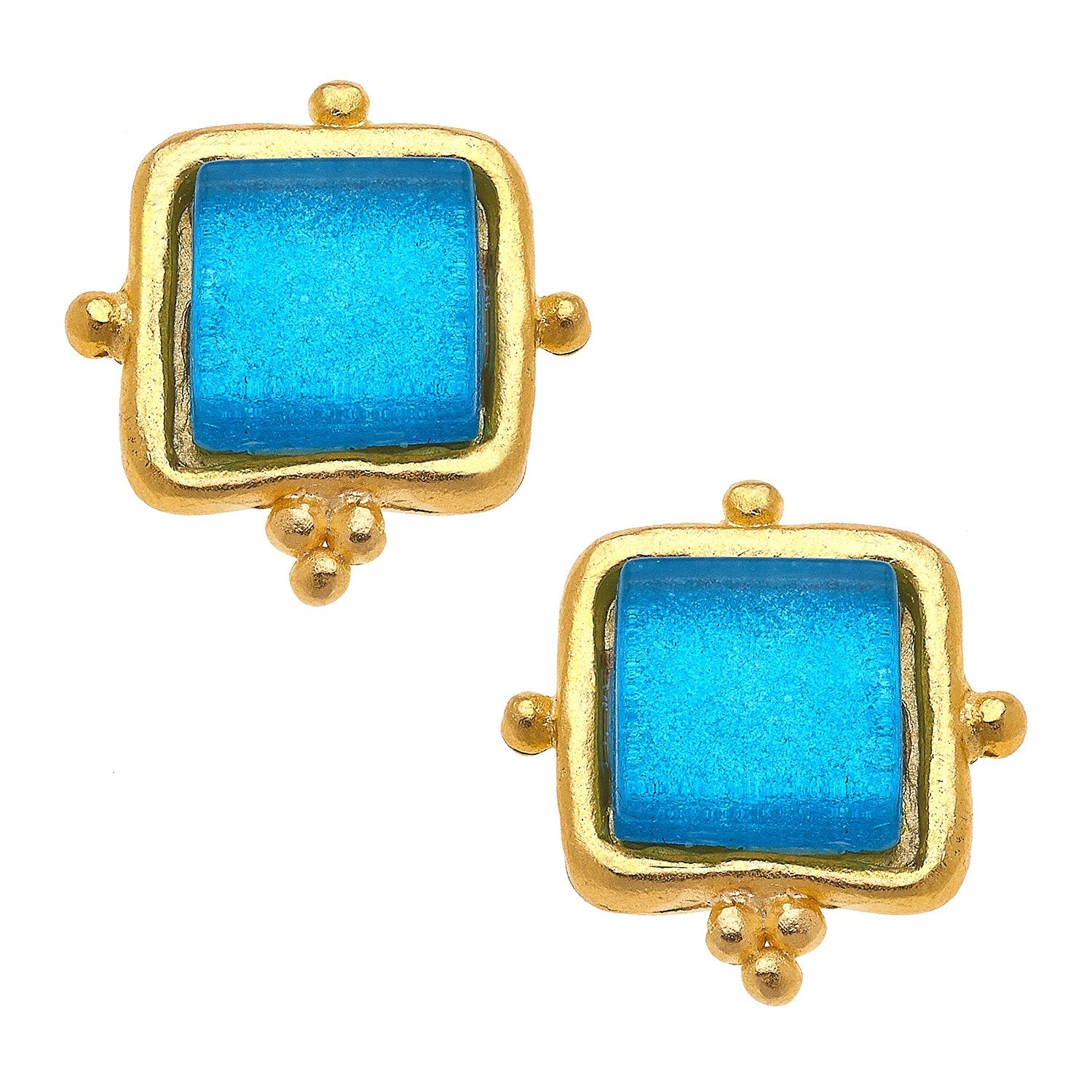 Susan Shaw Madeline Stud Earrings in Classic Blue