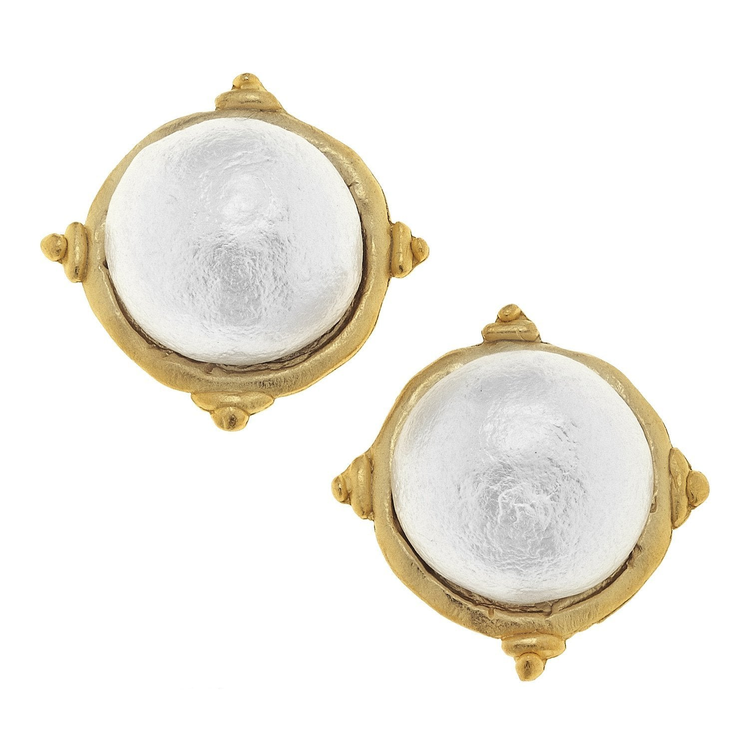 Susan Shaw Handcast Gold and Cotton Pearl Cabochon Earrings