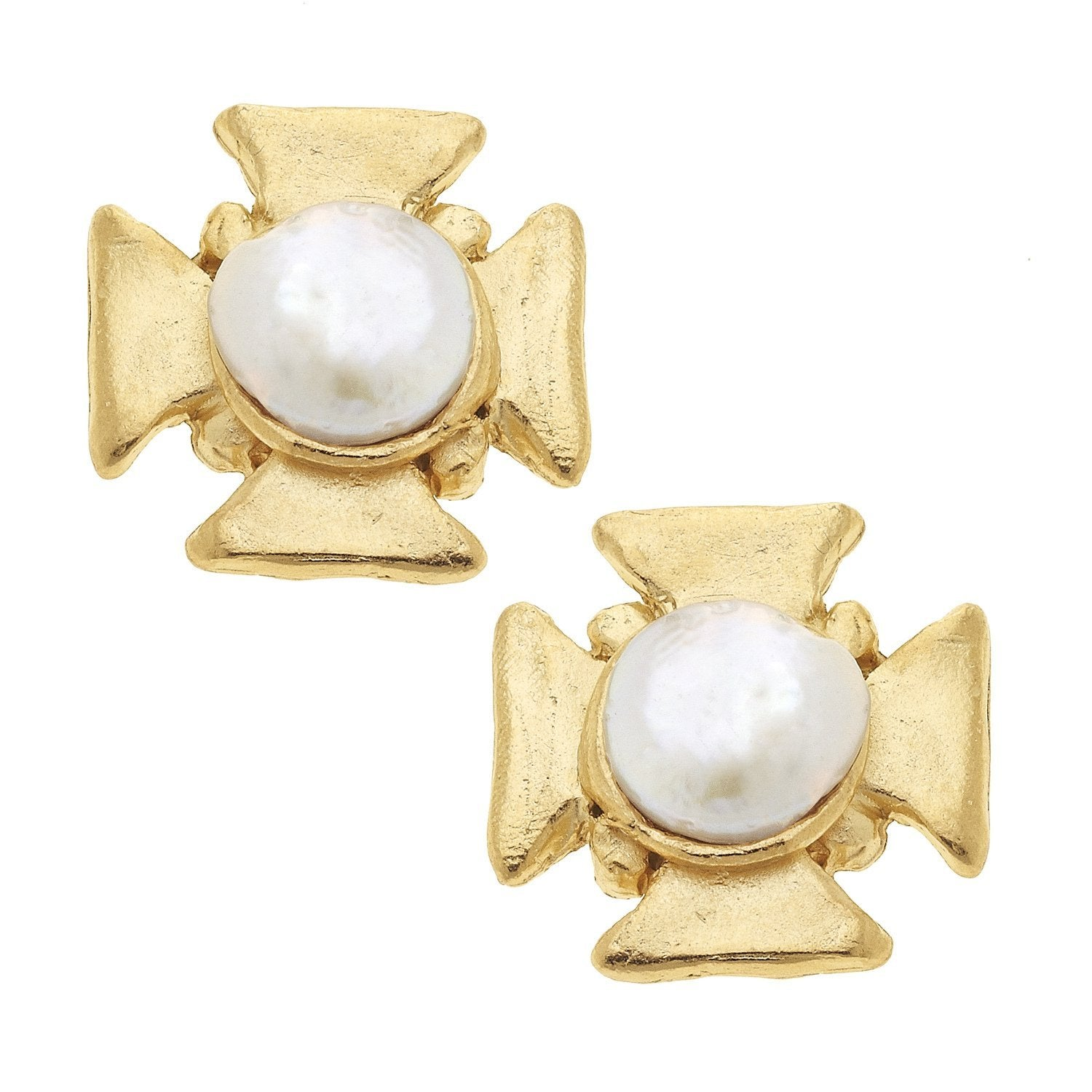 Susan Shaw Maltese Cross Pearl Stud Earrings