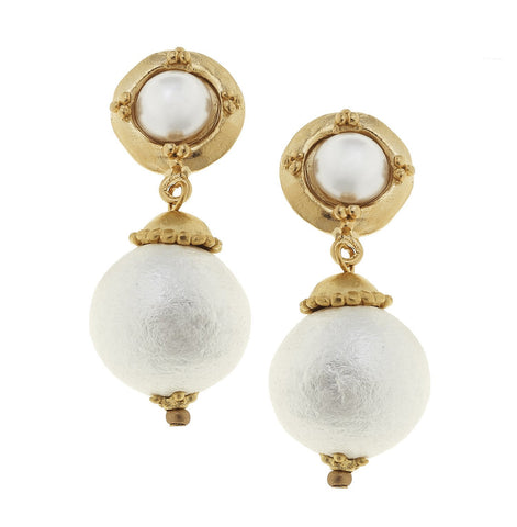 Susan Shaw Handcast Gold with Cotton Pearl Earrings