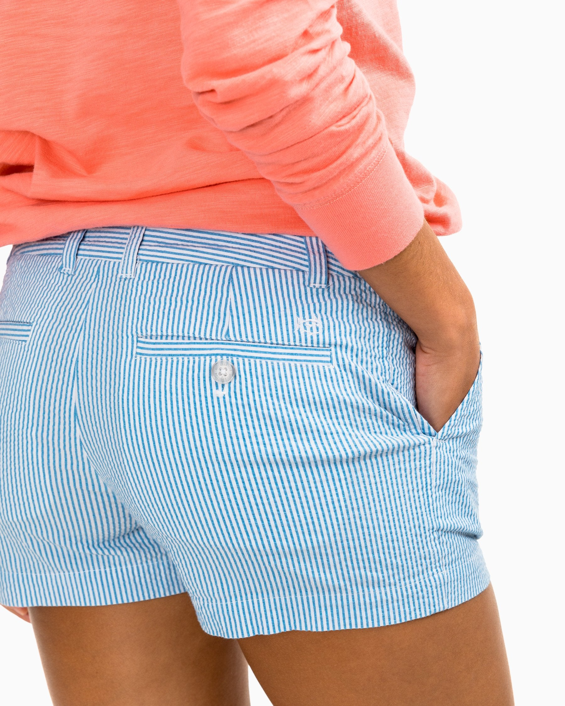 "ST 3"" Leah Seersucker Shorts - Boat Blue"