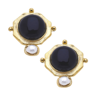 Susan Shaw Handcast Gold with Black Quartz and Freshwater Pearl Earring
