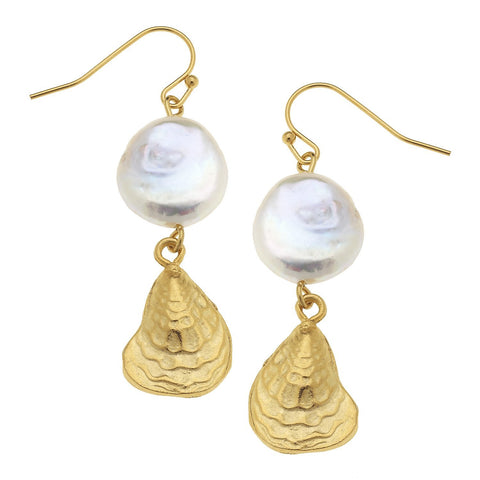 Susan Shaw Handcast Gold Oyster Shell with Genuine Freshwater Pearl Earrings