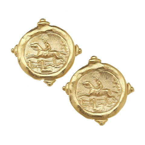 "Susan Shaw Handcast Gold ""Horse"" Intaglio Pierced Earrings"