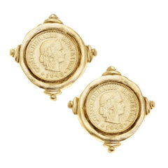 Susan Shaw Gold Coin Stud Earrings