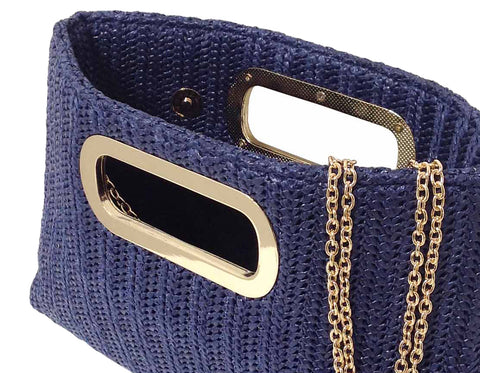 Woven Straw Clutch Navy