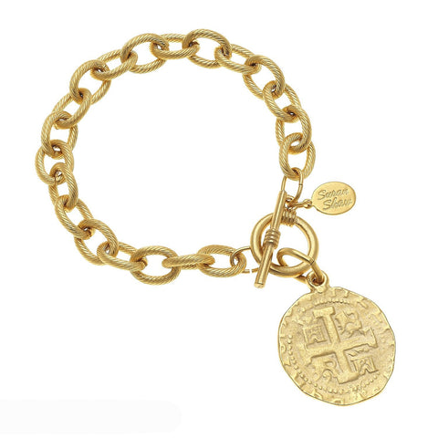 Susan Shaw Handcast Coin Toggle Bracelet