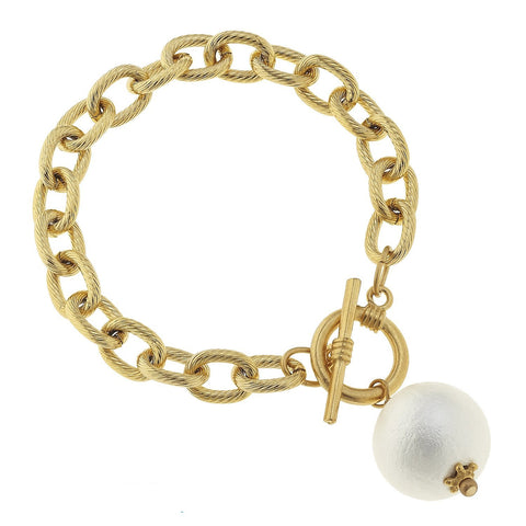 Susan Shaw Gold and White Cotton Pearl Toggle Bracelet