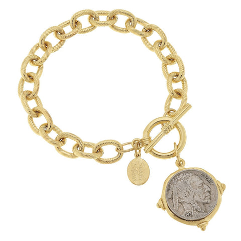 Susan Shaw Handcast Gold & Silver Vintage Indian Head Coin Bracelet