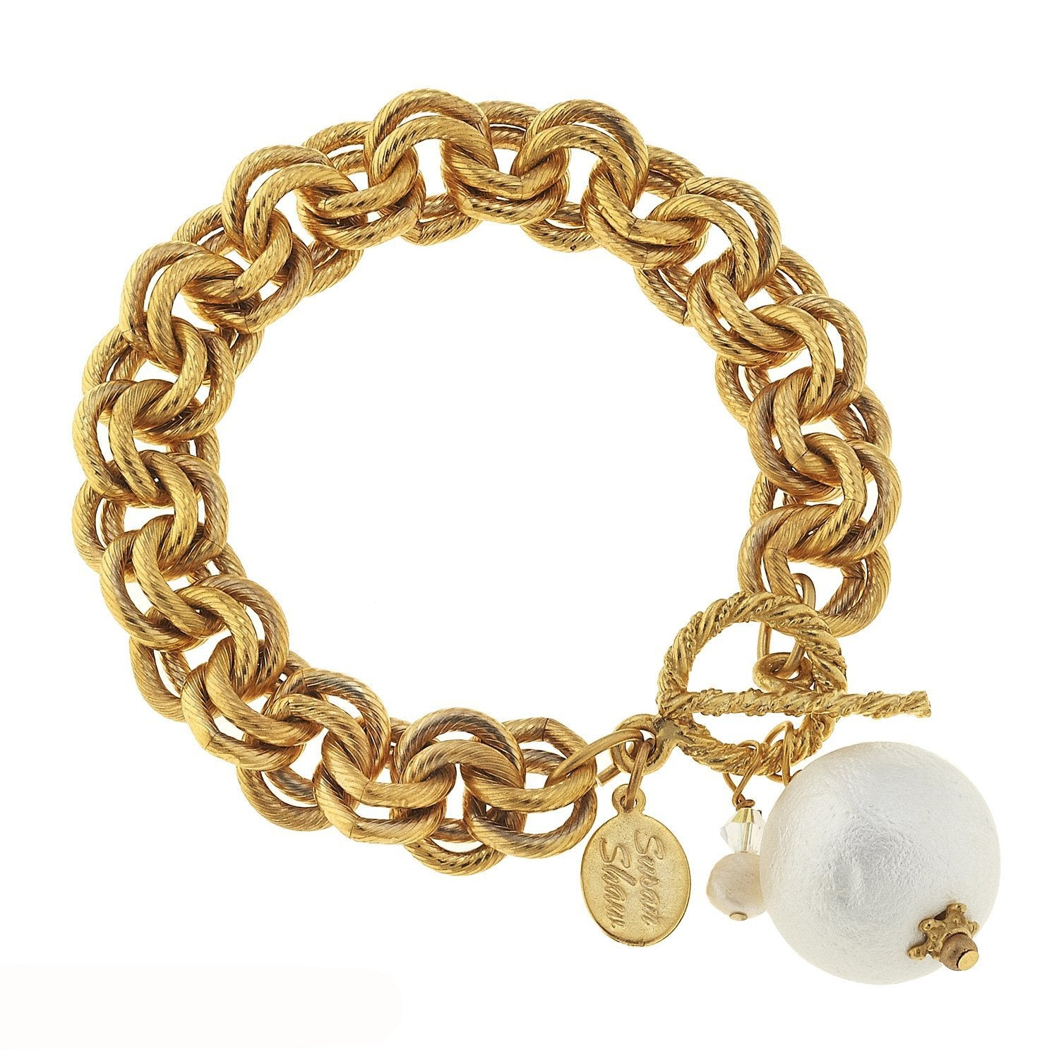 Susan Shaw Handcast Gold with Cotton Pearl Bracelet