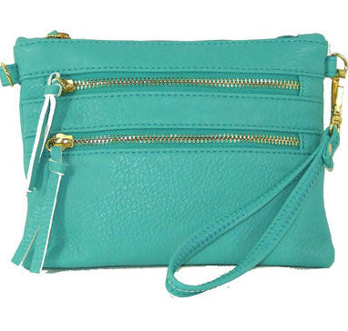 Triple-Zip Crossbody - Aqua by Jewelry from THE LUCKY KNOT - 1