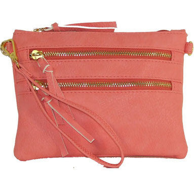 Triple-Zip Crossbody - Light Pink by Jewelry from THE LUCKY KNOT
