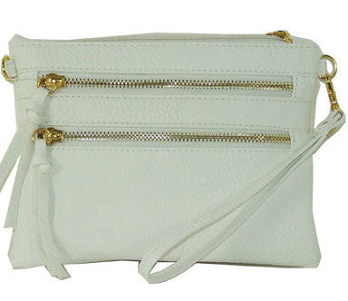Triple-Zip Crossbody - White by Jewelry from THE LUCKY KNOT