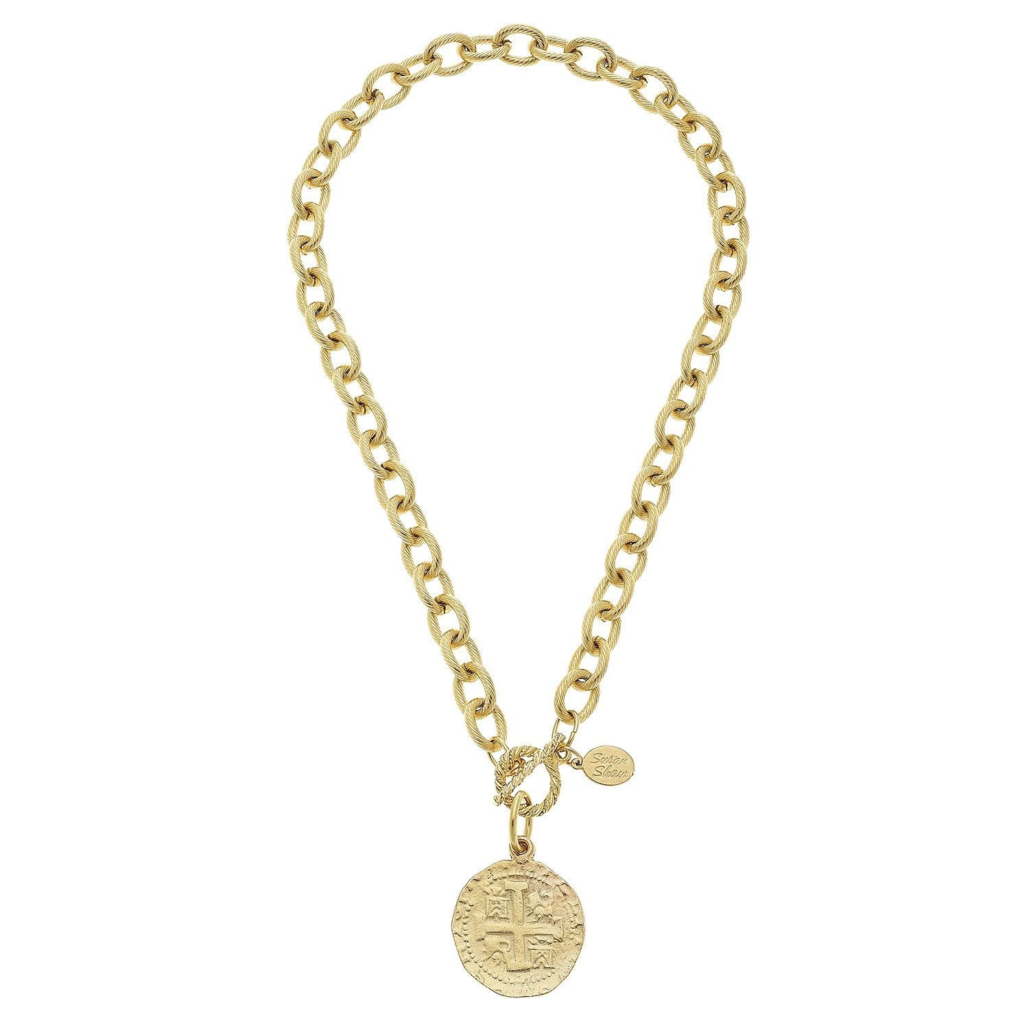 Susan Shaw Handcast Gold Coin Toggle Necklace