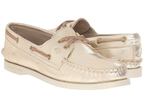 Sperry Women's A/O 2 Eye Metallic Platinum Boat Shoe by Sperry Top-Sider from THE LUCKY KNOT - 1