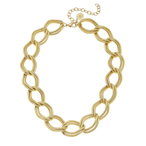 Susan Shaw Handcast Gold Loop Chain Necklace