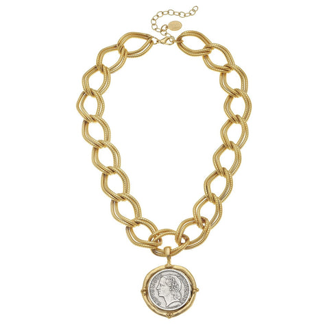 Susan Shaw Handcast Gold & Silver Coin on Gold Chain Necklace