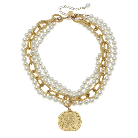 Susan Shaw Handcast Gold Coin and Pearl Necklace
