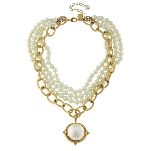 Susan Shaw Cotton Pearl Cab Multi-Strand Pearl Necklace