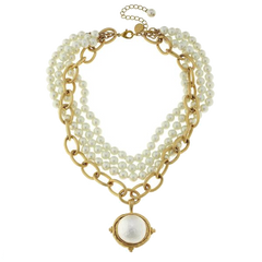 Susan Shaw Handcast Gold Cotton Pearl and Gold Chain Necklace