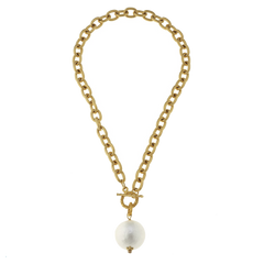 Susan Shaw Cotton Pearl on Gold Toggle Necklace