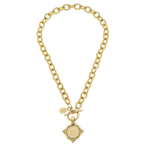 "Susan Shaw Handcast Gold Intaglio ""Coin"" Front Toggle Necklace"