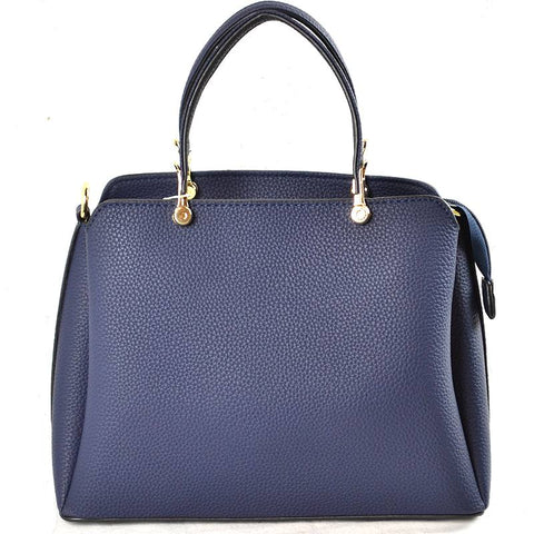 Vegan Leather Handbag - Navy