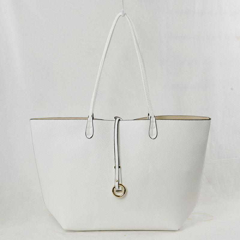 Vegan Leather Reversible 2-in-1 Tote Bag - White/Tan
