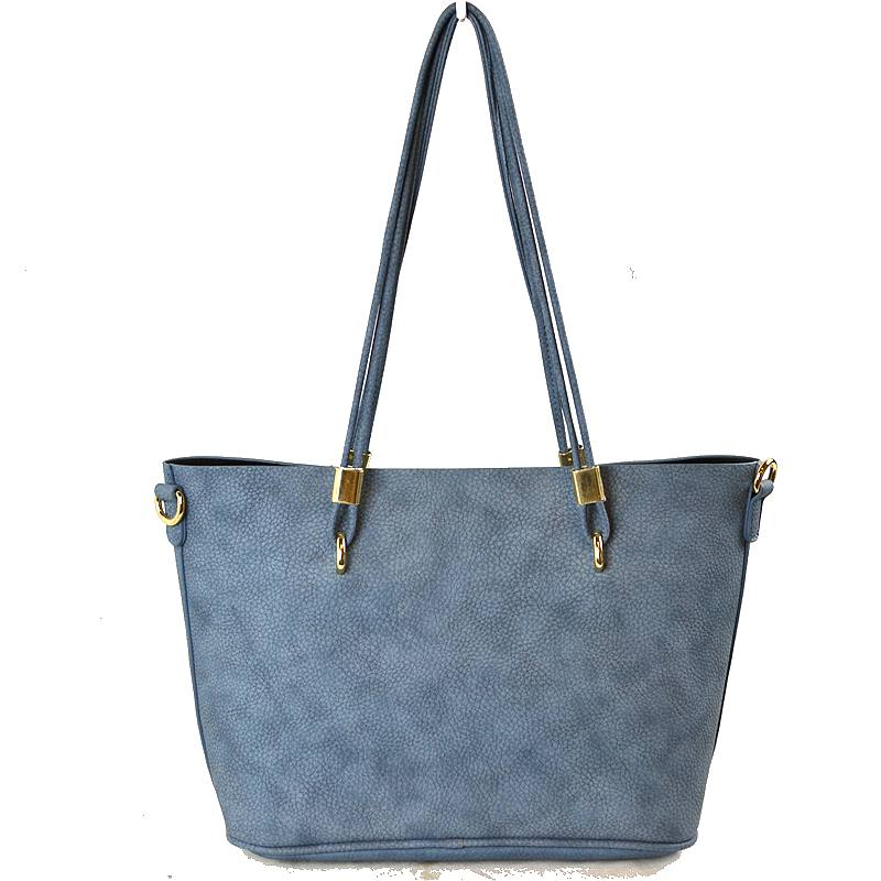 Vegan Leather 2-in-1 Tote Bag - Light Blue