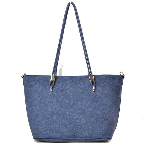 Vegan Leather 2-in-1 Tote Bag - Navy