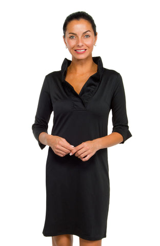 Gretchen Scott Ruff Neck Jersey Dress - Solid Black