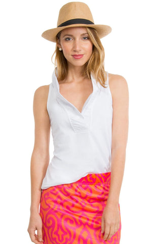 Gretchen Scott Ruff Neck Sleeveless Jersey Top - Solid White