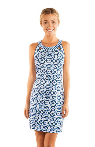 Gretchen Scott Isosceles Jersey Dress - Rio Gio - Blues
