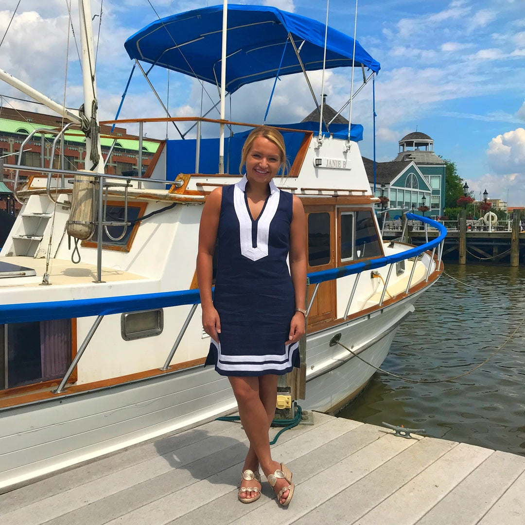 Sail to Sable Classic Sleeveless Linen Dress in Navy And White