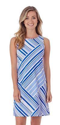 Jude Connally Beth Dress in Patchwork Stripe Sapphire