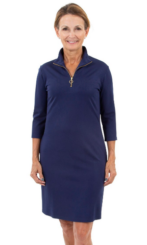 Sailor Sailor Britt 3/4 Sleeve Dress - Solid Navy w/ Gold Zipper
