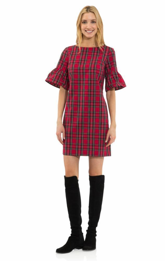 Sail To Sable Plaid Shirting Ruffle Sleeve Dress - Red Plaid Multi