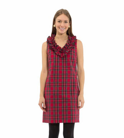 Sail To Sable Plaid Shirting Ruffle Neck Sleeveless Dress - Red Plaid Multi