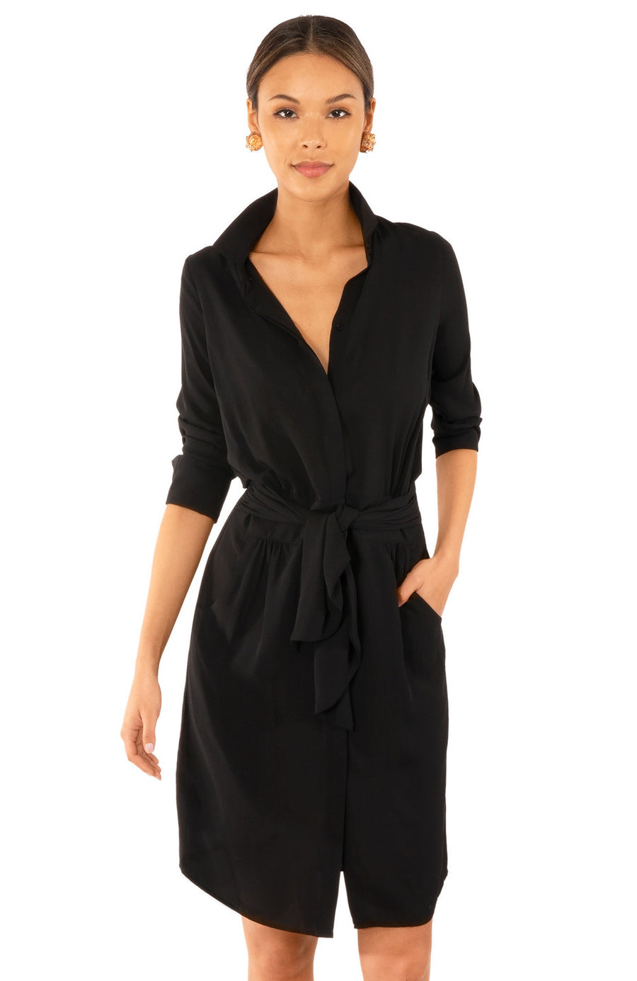 Gretchen Scott Breezy Blouson Chiffon Dress -Black