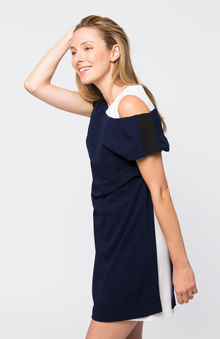 Tyler Böe Naomi Crepe Dress - Navy/White