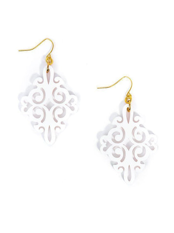 Zenzii Twirling Blossom Earring - White
