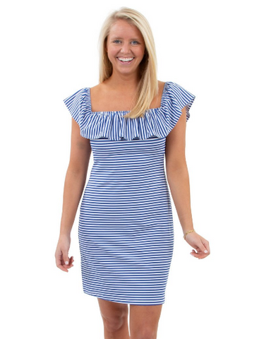 Sailor Sailor Shoreline Dress In Royal Blue/White Stripes